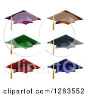 Clipart Of 3d Colorful Mortar Board Graduation Caps And Tassels Royalty Free Vector Illustration