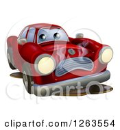Clipart Of A Sad Broken Down Red Car Royalty Free Vector Illustration