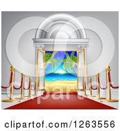 Clipart Of A 3d Red Carpet Leading To A Doroway With A Tropical Beach Royalty Free Vector Illustration