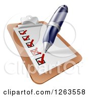 Clipart Of A Pen Checking Off Items On A Clipboard Royalty Free Vector Illustration by AtStockIllustration