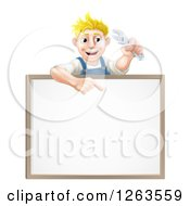 Clipart Of A Happy Blond White Mechanic Man Holding A Wrench Over A White Board Sign Royalty Free Vector Illustration