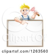 Clipart Of A Blond White Male Plumber Holding A Plunger And Pointing Down At A White Board Sign Royalty Free Vector Illustration