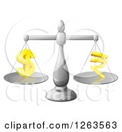 Clipart Of A 3d Silver Scale Comparing Dollar And Rupee Symbols Royalty Free Vector Illustration
