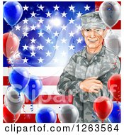 Clipart Of A Happy Caucasian Male Military Veteran Over An American Flag And Balloons Royalty Free Vector Illustration by AtStockIllustration