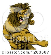Clipart Of An Angry Muscular Lion Man Punching Royalty Free Vector Illustration by AtStockIllustration
