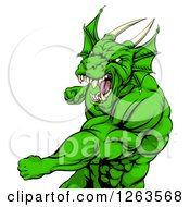 Clipart Of An Angry Muscular Green Dragon Man Punching Royalty Free Vector Illustration