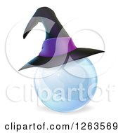 Clipart Of A 3d Witch Hat On A Crystal Ball Royalty Free Vector Illustration