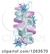 3d 2015 Suspended With Star Ornaments And A Happy New Year Greeting Banner