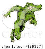 Clipart Of A Crocodile Or Alligator Man Running Upright Royalty Free Vector Illustration by AtStockIllustration
