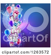 Clipart Of 3d Gift Boxes And Party Balloons Over A Blue Background Royalty Free Vector Illustration by AtStockIllustration