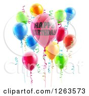 Clipart Of 3d Party Balloons And Confetti Ribbons With Happy Birthday Text Royalty Free Vector Illustration