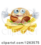 Clipart Of A Happy Cheeseburger Holding Two Thumbs Up Over French Fries Royalty Free Vector Illustration