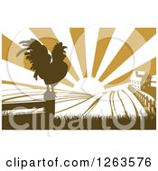 Clipart Of A Sunrise Over A Brown Farm House With A Crowing Rooster And Fields Royalty Free Vector Illustration by AtStockIllustration