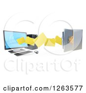 Clipart Of A 3d Desktop Computer Moving Files To An Open Vault Safe Royalty Free Vector Illustration