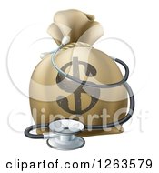 Clipart Of A 3d Dollar Symbol Money Bag And Stethoscope Royalty Free Vector Illustration by AtStockIllustration