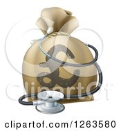 Clipart Of A 3d Pound Lyra Symbol Money Bag And Stethoscope Royalty Free Vector Illustration by AtStockIllustration