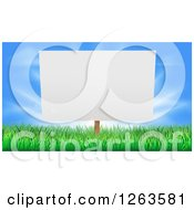 Clipart Of A Blank Billboard Or Sign In Grass Against Blue Sky Royalty Free Vector Illustration