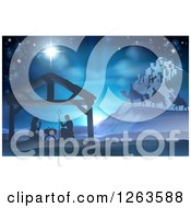 Clipart Of A Silhouetted Christmas Nativity Scene At The Manger With The Star Of Bethlehem Wise Men And Star Royalty Free Vector Illustration by AtStockIllustration