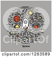 Clipart Of A Rocket With Planets And Stars Over Gray And Space Text Royalty Free Vector Illustration