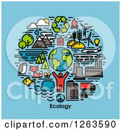Clipart Of A Man With Earth Wildlife And Ecology Items Over Text On Blue Royalty Free Vector Illustration