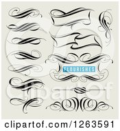 Clipart Of Black Calligraphic Flourishes On Tan Royalty Free Vector Illustration