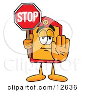 Price Tag Mascot Cartoon Character Holding A Stop Sign