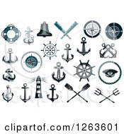 Clipart Of Navy Blue Naitucal Items Royalty Free Vector Illustration