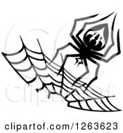 Clipart Of A Black And White Spider And Web Royalty Free Vector Illustration by Vector Tradition SM