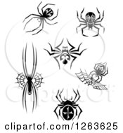 Clipart Of Black And White Spiders And Webs Royalty Free Vector Illustration