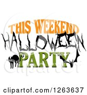 Clipart Of A Cat Bat And This Weekend Halloween Party Text Royalty Free Vector Illustration by Vector Tradition SM