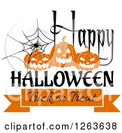 Clipart Of A Spider Web With Jackolanterns And Happy Halloween Trick Or Treat Text Royalty Free Vector Illustration