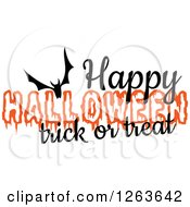 Clipart Of A Bat With Happy Halloween Trick Or Treat Text Royalty Free Vector Illustration