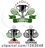 Clipart Of Tennis Balls Trophy Cups And Crossed Rackets With Text Royalty Free Vector Illustration