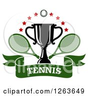 Clipart Of A Tennis Ball And Stars Over A Trophy Cup With Crossed Rackets Over A Green Text Ribbon Banner Royalty Free Vector Illustration