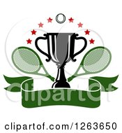 Clipart Of A Tennis Ball And Stars Over A Trophy Cup With Crossed Rackets Over A Blank Green Ribbon Banner Royalty Free Vector Illustration