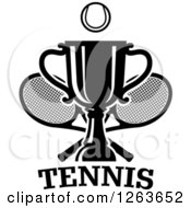 Clipart Of A Black And White Tennis Ball Over A Trophy Cup With Crossed Rackets Over Text Royalty Free Vector Illustration