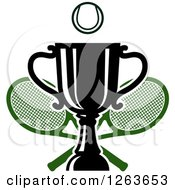 Clipart Of A Tennis Ball Over A Trophy Cup With Crossed Rackets Royalty Free Vector Illustration