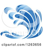 Clipart Of A Blue Ocean Surf Wave Royalty Free Vector Illustration by Seamartini Graphics