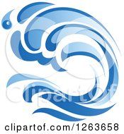 Clipart Of A Blue Ocean Surf Wave Royalty Free Vector Illustration