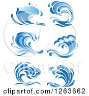 Clipart Of Blue Ocean Surf Waves Royalty Free Vector Illustration