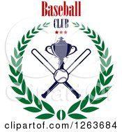 Clipart Of A Trophy Cup With Crossed Bats A Baseball And Stars In A Laurel Wreath Under Text Royalty Free Vector Illustration
