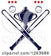 Clipart Of A Trophy Cup With Crossed Bats Baseballs And Stars Royalty Free Vector Illustration