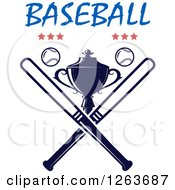 Clipart Of A Trophy Cup With Crossed Bats Baseballs And Stars Under Text Royalty Free Vector Illustration