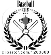 Clipart Of A Black And White Trophy Cup With Crossed Bats A Baseball And Stars In A Laurel Wreath Under Text Royalty Free Vector Illustration