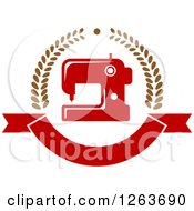 Clipart Of A Red Sewing Machine In A Laurel And Ribbon Banner Wreath Royalty Free Vector Illustration