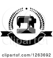 Clipart Of A Black And White Sewing Machine In A Laurel And Ribbon Banner Wreath Royalty Free Vector Illustration