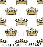 Clipart Of A Seamless Pattern Background Of Gold Crowns Royalty Free Vector Illustration