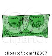 Price Tag Mascot Cartoon Character On A Dollar Bill