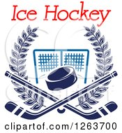 Clipart Of A Blue Hockey Puck And Crossed Sticks Over A Goal Net In A Laurel Wreath With Text Royalty Free Vector Illustration