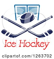 Clipart Of A Hockey Puck Over Crossed Sticks And A Goal Net With Text Royalty Free Vector Illustration